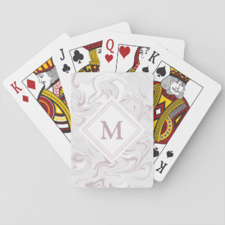 Fancy Mauve Marble Look Diamond Monogram Playing Cards