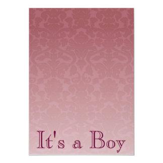 "Fancy Merlot Damask Baby Shower Invitation 5"" X 7"" Invitation Card"