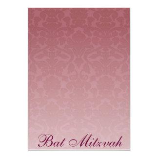 "Fancy Merlot Damask Bat Mitzvah Invitation 5"" X 7"" Invitation Card"