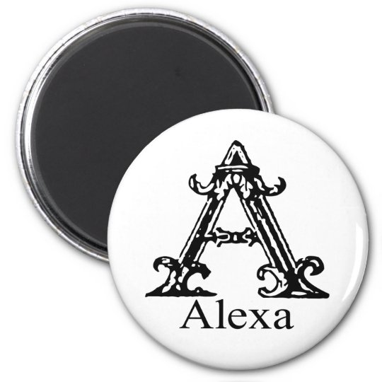 Fancy Monogram: Alexa 6 Cm Round Magnet
