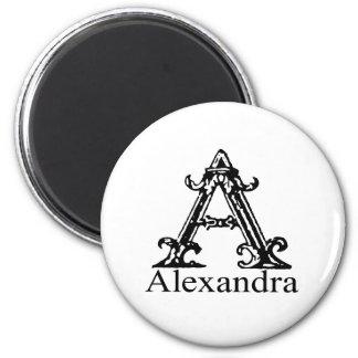 Fancy Monogram: Alexandra 6 Cm Round Magnet