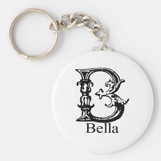 Fancy Monogram: Bella Basic Round Button Key Ring