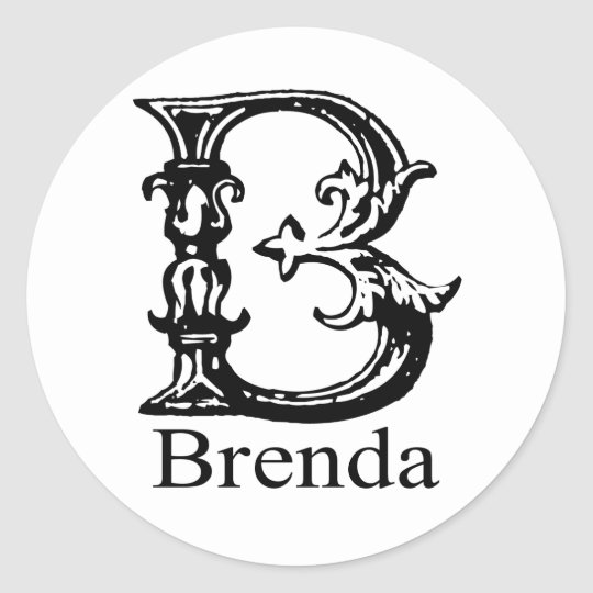 Fancy Monogram: Brenda Classic Round Sticker