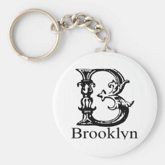 Fancy Monogram: Brooklyn Basic Round Button Key Ring