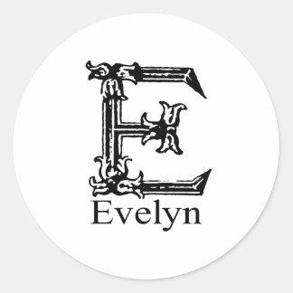 Fancy Monogram: Evelyn Classic Round Sticker
