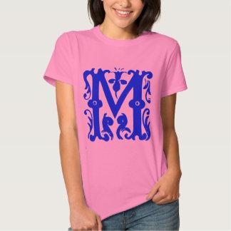Fancy Monogram Initial Letter M Womens Shirt