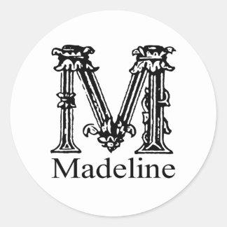 Fancy Monogram: Madeline Classic Round Sticker