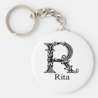 Fancy Monogram: Rita Basic Round Button Key Ring