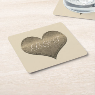Fancy Monogrammed Shiny Heart Coaster