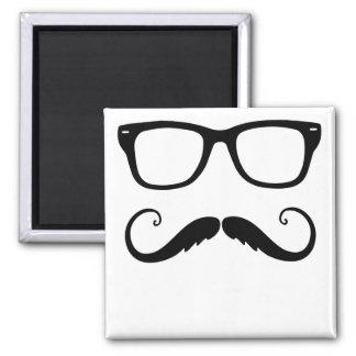 Fancy Mustache Face Square Magnet