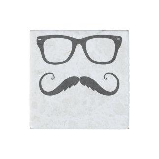 Fancy Mustache Face Stone Magnet
