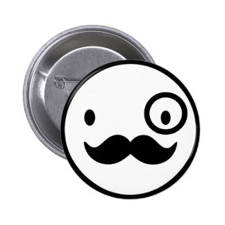 fancy mustchace smiley face 6 cm round badge