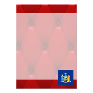 Fancy New York Flag on red velvet background 13 Cm X 18 Cm Invitation Card
