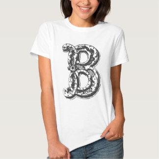 Fancy Old Style Font Monogram Letter B Tee Shirt