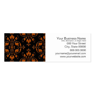 Fancy Orange and Black Damask Business Card Template