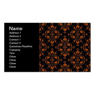 Fancy Orange and Black Damask Pack Of Standard Business Cards