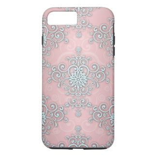 Fancy Pale Pink Girly Lacy Style  Damask Pattern iPhone 8 Plus/7 Plus Case