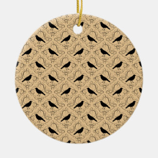 Fancy Pattern with Crows. Black and Beige. Christmas Ornament