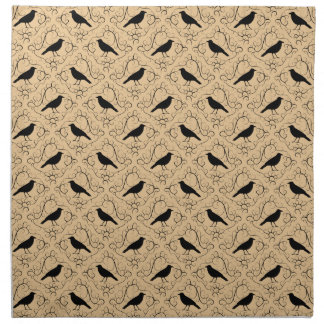 Fancy Pattern with Crows. Black and Beige. Napkin