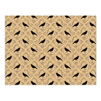 Fancy Pattern with Crows. Black and Beige. Postcard