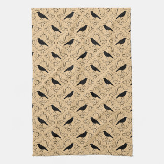 Fancy Pattern with Crows. Black and Beige. Tea Towel
