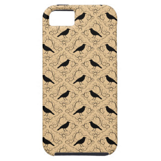 Fancy Pattern with Crows. Black and Beige. Tough iPhone 5 Case