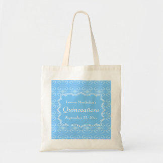 Fancy Patterned Pastel Blue Quinceanera Budget Tote Bag