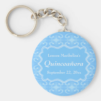 Fancy Patterned Pastel Blue Quinceanera Keychain
