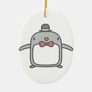 Fancy Penguin Ceramic Oval Decoration