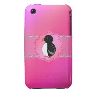 Fancy penguin pink iPhone 3 cases