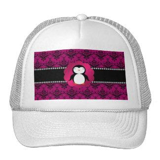 Fancy penguin pink damask trucker hats