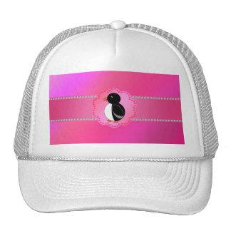 Fancy penguin pink trucker hats
