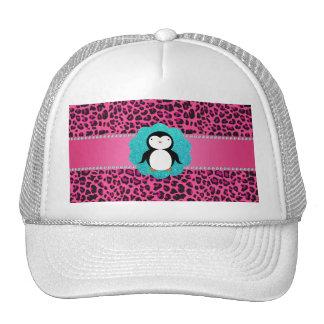 Fancy penguin pink leopard pattern trucker hats