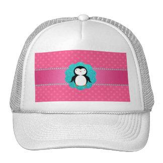 Fancy penguin pink polka dots hats