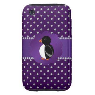 Fancy penguin purple diamonds tough iPhone 3 cover