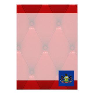 Fancy Pennsylvania Flag on red velvet background 13 Cm X 18 Cm Invitation Card