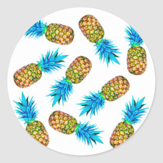 Fancy pineapples round sticker