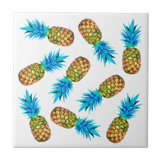 Fancy pineapples small square tile