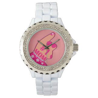 Fancy Pink #1 Mom Wristwatches