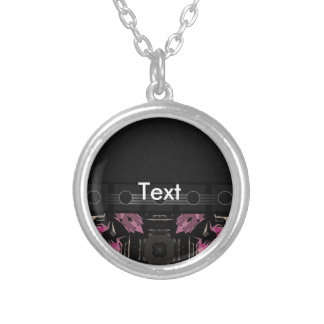 Fancy Pink Abstract Round Pendant Necklace