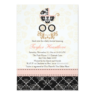 Fancy Pink and Black Damask Carriage Baby Shower 13 Cm X 18 Cm Invitation Card