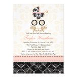 Fancy Pink and Black Damask Carriage Baby Shower Custom Announcement