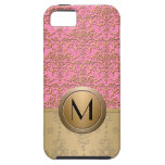 Fancy Pink and Gold Monogram Damask Pattern iPhone 5/5S Covers