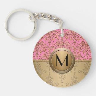 Fancy Pink and Gold Monogram Damask Pattern Single-Sided Round Acrylic Key Ring