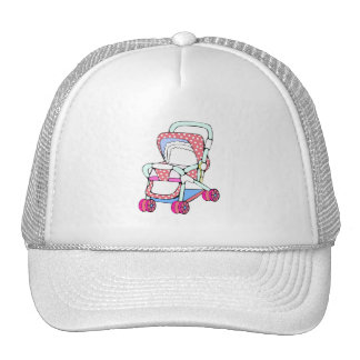 Fancy pink baby stroller graphic trucker hat