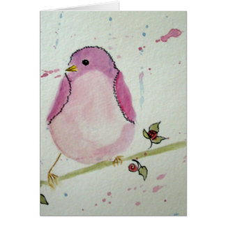 Fancy Pink Bird Blank Greeting Card
