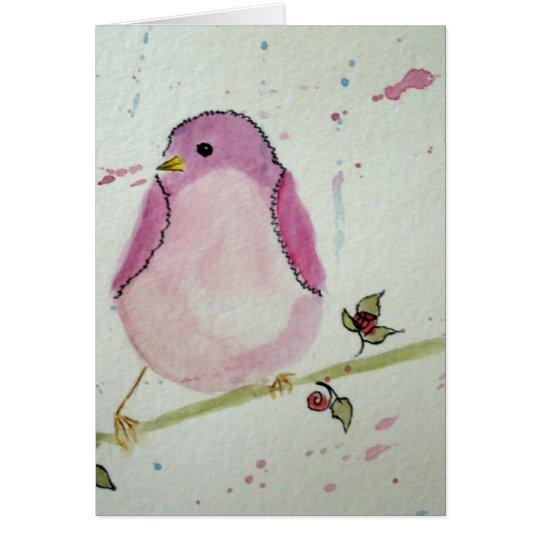 Fancy Pink Bird Blank Greeting Card