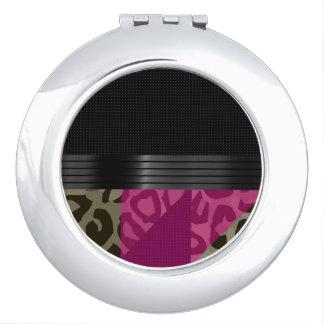 Fancy Pink Black Cheetah Compact Mirrors