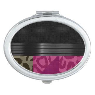 Fancy Pink Black Cheetah Makeup Mirror