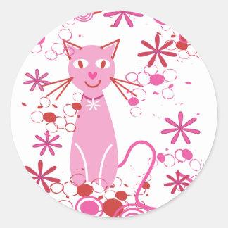 Fancy Pink Cat Round Sticker